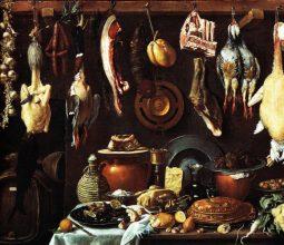 Jacopo Chimenti, Dispensa con trancio di cinghiale, pasticcio ed anatra, Uffizi, Firenze, 1624