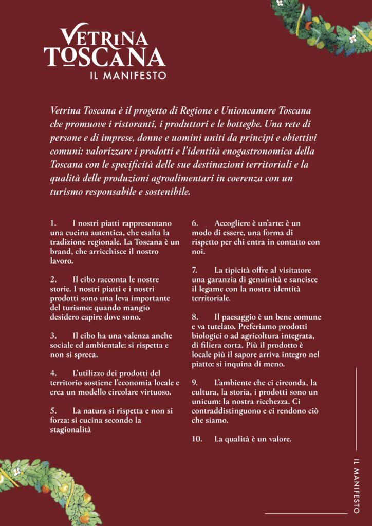 Manifesto dei valori di Vetrina Toscana